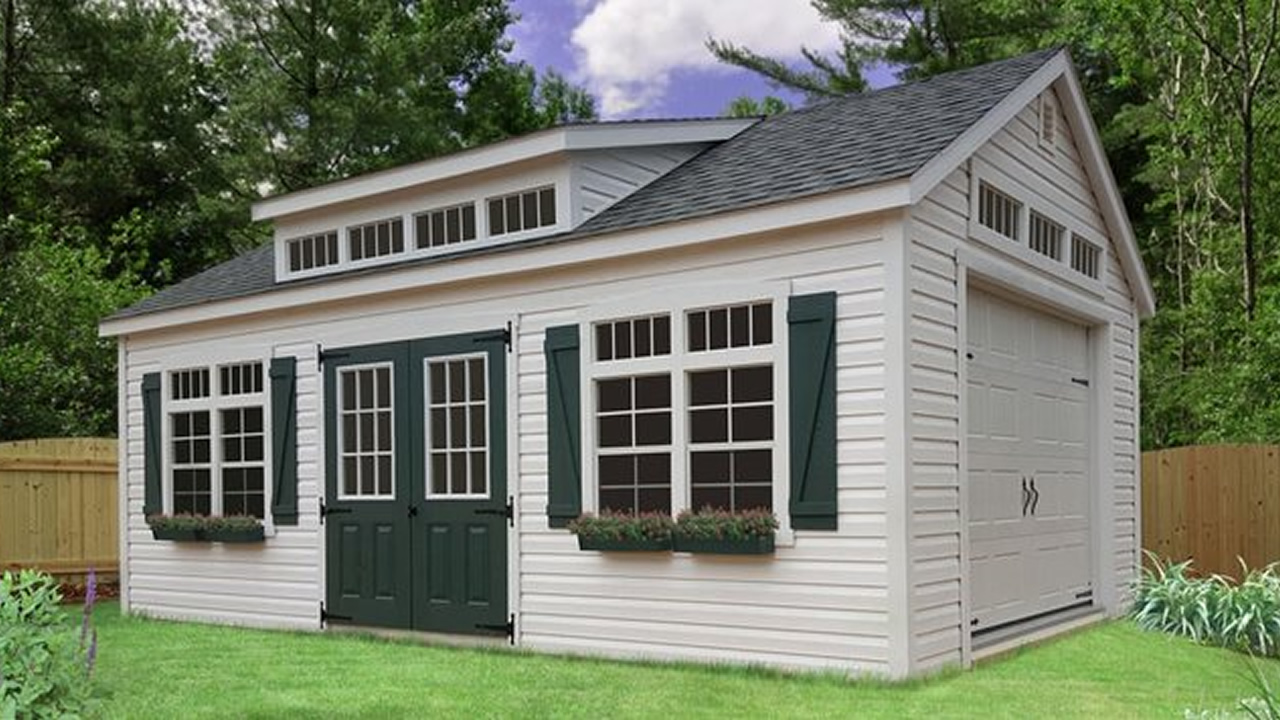 Premier Vinyl Shed with Garage Package, Transom Dormer, Painted 9-Lite Doors, Transom Glass and Flower Boxes