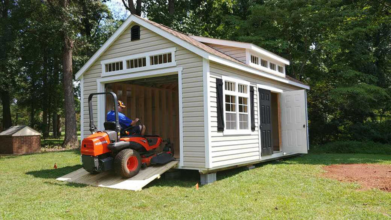 Premier Vinyl Shed with Transom Dormer, Transom Glass, Painted Doors and Ramp
