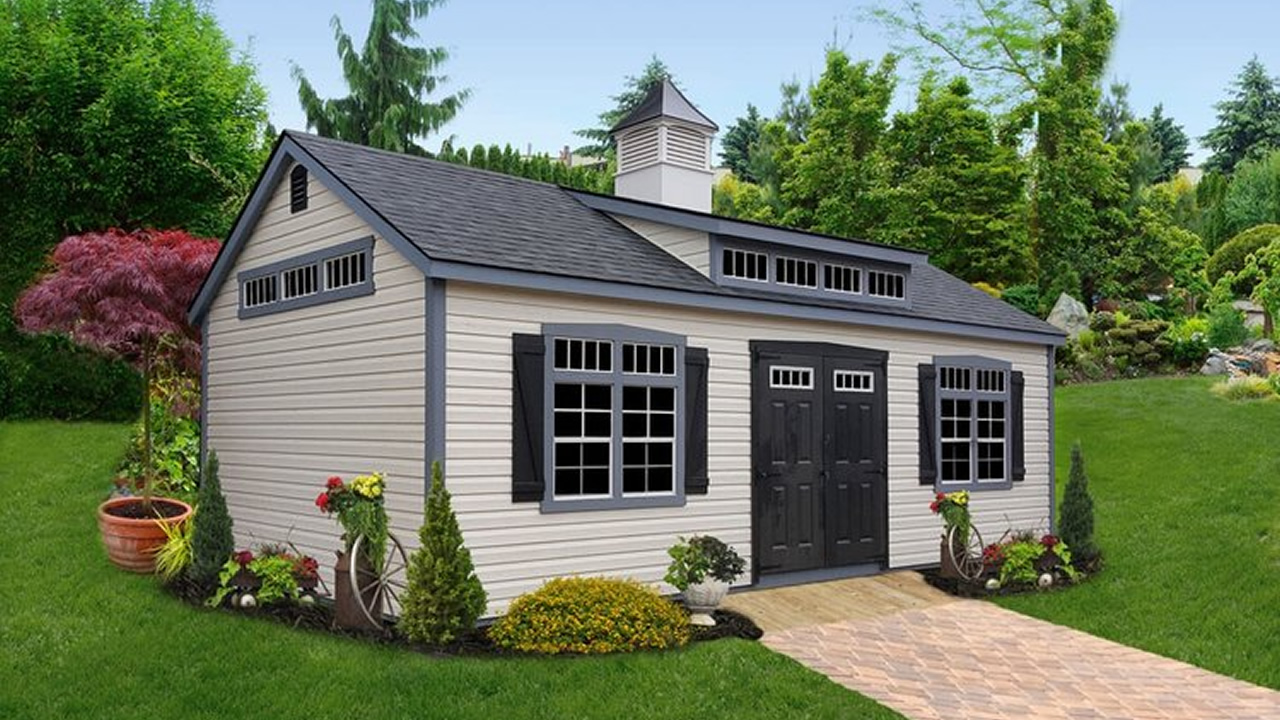 Premier Vinyl Shed with Transom Dormer, Painted 9-Lite Doors, Transom Glass and Cupola