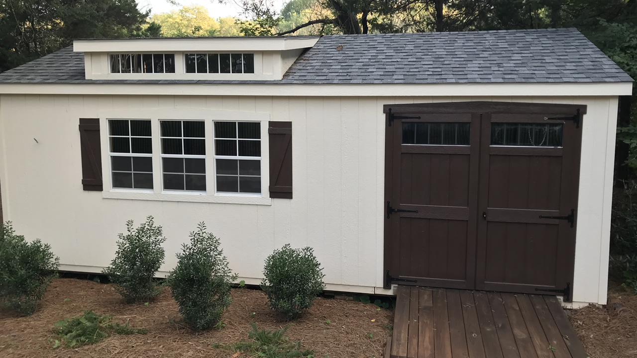 Premier Painted Shed with Shingles and Custom Doors
